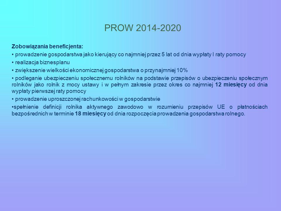 PROW 2014-2020 Zobowiązania beneficjenta: prowadzenie gospodarstwa jako kierujący co najmniej przez 5 lat od dnia wypłaty I raty pomocy realizacja biz
