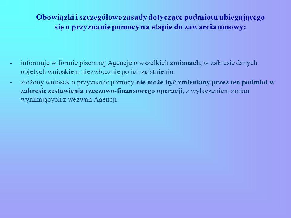 Obowiązki i szczegółowe zasady dotyczące podmiotu ubiegającego się o przyznanie pomocy na etapie do zawarcia umowy: -informuje w formie pisemnej Agenc