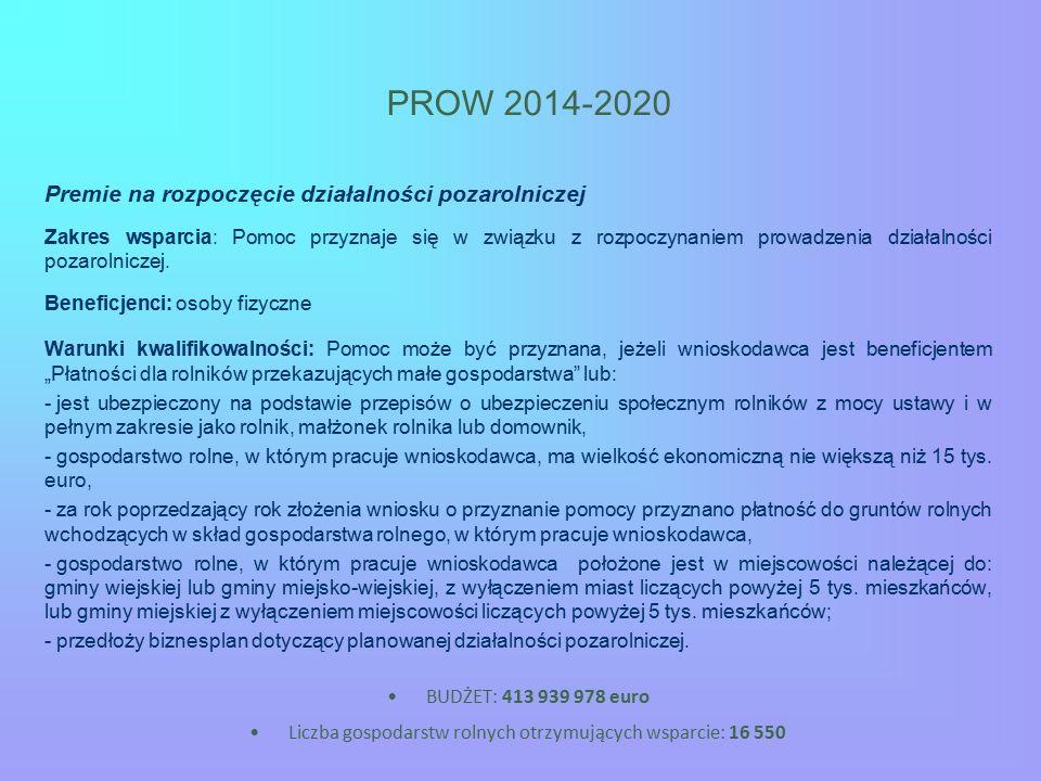 PROW 2014-2020 Premie na rozpoczęcie działalności pozarolniczej Zakres wsparcia: Pomoc przyznaje się w związku z rozpoczynaniem prowadzenia działalności pozarolniczej.