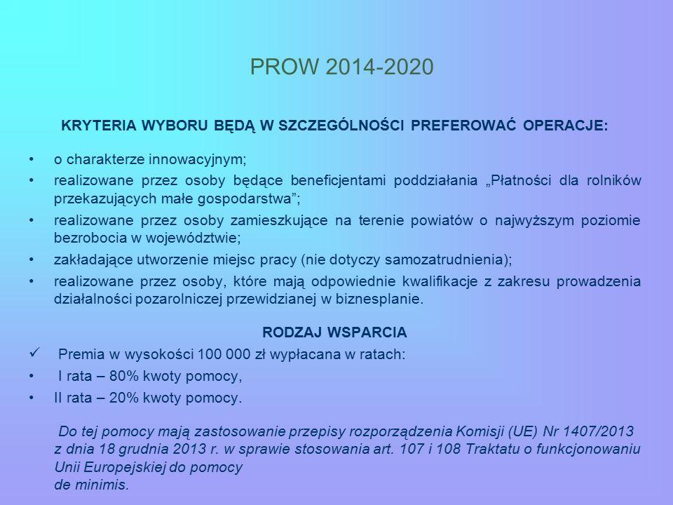 PROW 2014-2020 KRYTERIA WYBORU BĘDĄ W SZCZEGÓLNOŚCI PREFEROWAĆ OPERACJE: o charakterze innowacyjnym; realizowane przez osoby będące beneficjentami pod