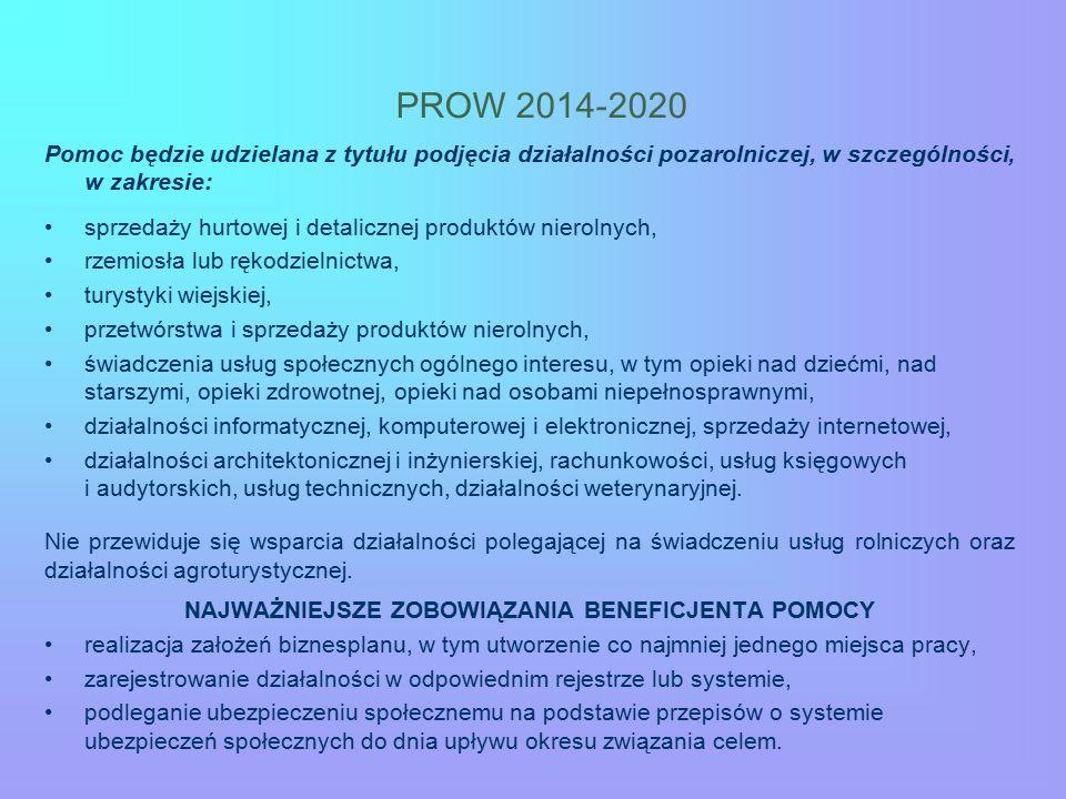 PROW 2014-2020 Pomoc będzie udzielana z tytułu podjęcia działalności pozarolniczej, w szczególności, w zakresie: sprzedaży hurtowej i detalicznej produktów nierolnych, rzemiosła lub rękodzielnictwa, turystyki wiejskiej, przetwórstwa i sprzedaży produktów nierolnych, świadczenia usług społecznych ogólnego interesu, w tym opieki nad dziećmi, nad starszymi, opieki zdrowotnej, opieki nad osobami niepełnosprawnymi, działalności informatycznej, komputerowej i elektronicznej, sprzedaży internetowej, działalności architektonicznej i inżynierskiej, rachunkowości, usług księgowych i audytorskich, usług technicznych, działalności weterynaryjnej.