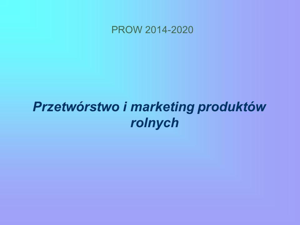 PROW 2014-2020 Przetwórstwo i marketing produktów rolnych