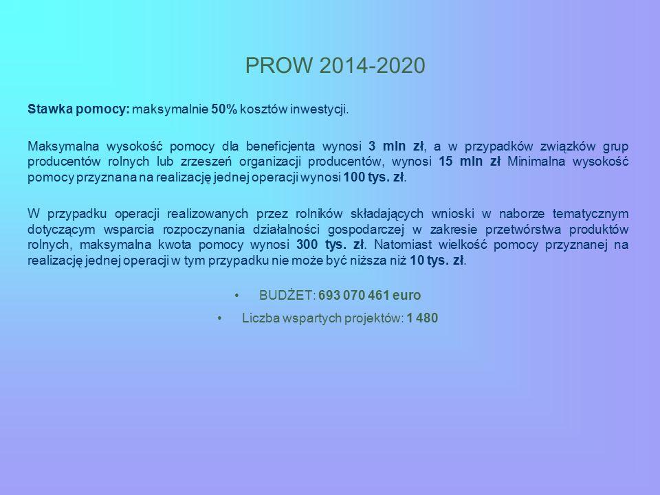PROW 2014-2020 Stawka pomocy: maksymalnie 50% kosztów inwestycji. Maksymalna wysokość pomocy dla beneficjenta wynosi 3 mln zł, a w przypadków związków