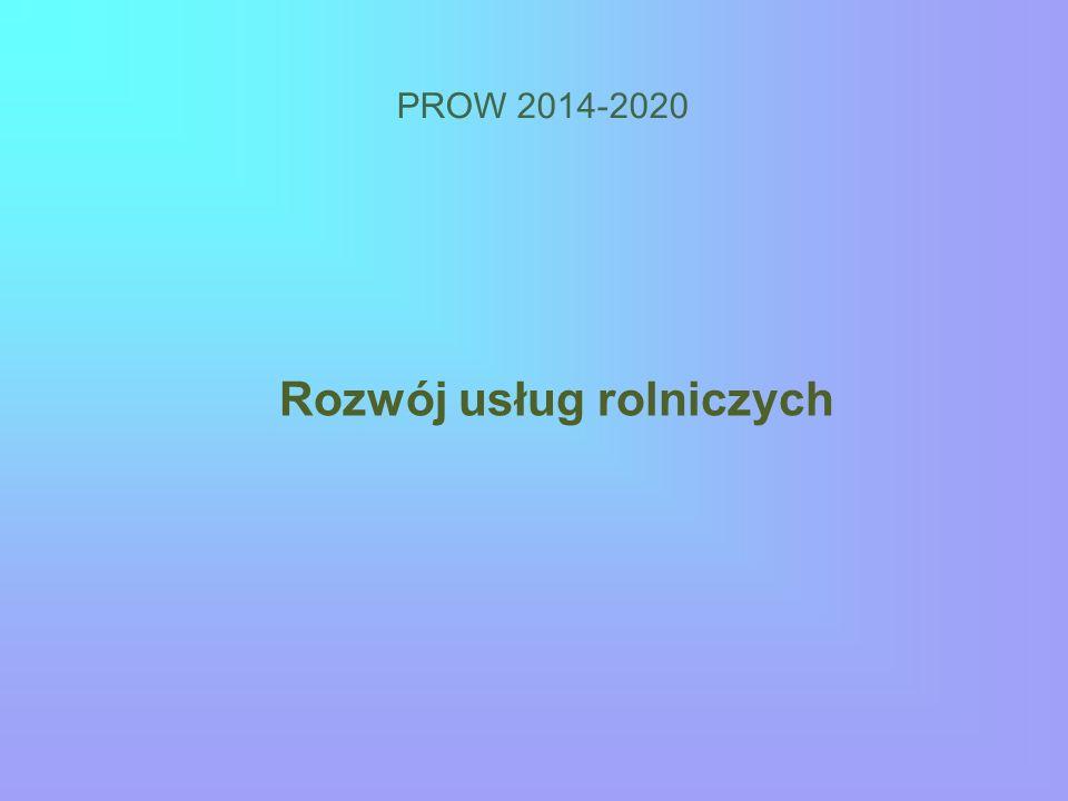 PROW 2014-2020 Rozwój usług rolniczych