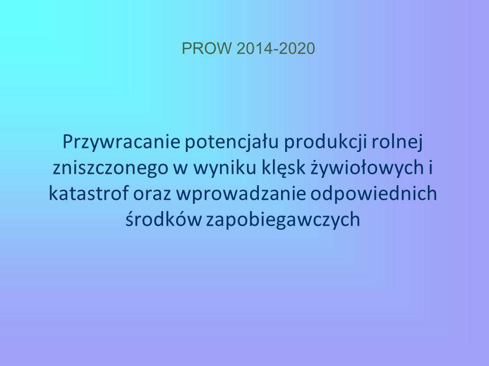 PROW 2014-2020 Przywracanie potencjału produkcji rolnej zniszczonego w wyniku klęsk żywiołowych i katastrof oraz wprowadzanie odpowiednich środków zap