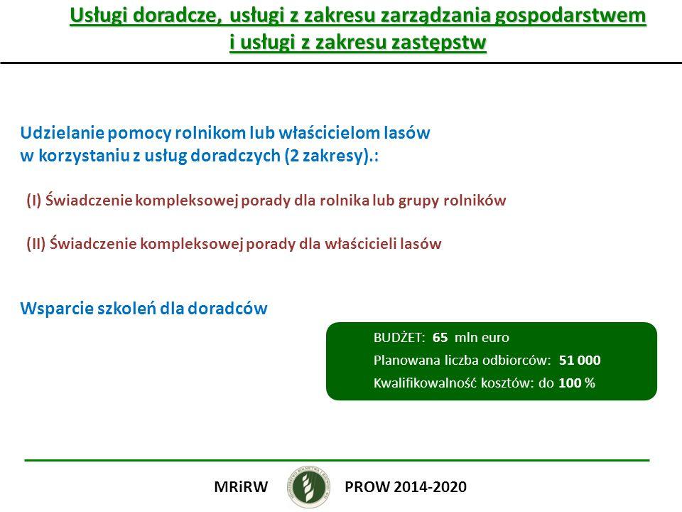 Usługi doradcze, usługi z zakresu zarządzania gospodarstwem i usługi z zakresu zastępstw Udzielanie pomocy rolnikom lub właścicielom lasów w korzystaniu z usług doradczych (2 zakresy).: (I) Świadczenie kompleksowej porady dla rolnika lub grupy rolników (II) Świadczenie kompleksowej porady dla właścicieli lasów Wsparcie szkoleń dla doradców PROW 2014-2020MRiRW BUDŻET: 65 mln euro Planowana liczba odbiorców: 51 000 Kwalifikowalność kosztów: do 100 %