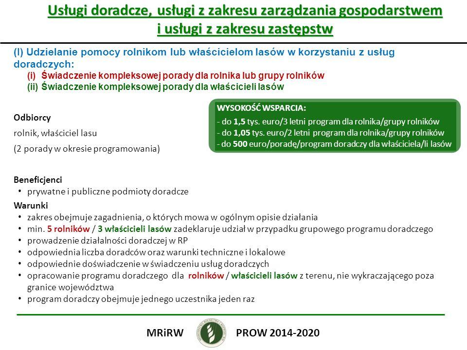 Usługi doradcze, usługi z zakresu zarządzania gospodarstwem i usługi z zakresu zastępstw (I) Udzielanie pomocy rolnikom lub właścicielom lasów w korzystaniu z usług doradczych: (i)Świadczenie kompleksowej porady dla rolnika lub grupy rolników (ii)Świadczenie kompleksowej porady dla właścicieli lasów Odbiorcy rolnik, właściciel lasu (2 porady w okresie programowania) Beneficjenci prywatne i publiczne podmioty doradcze Warunki zakres obejmuje zagadnienia, o których mowa w ogólnym opisie działania min.