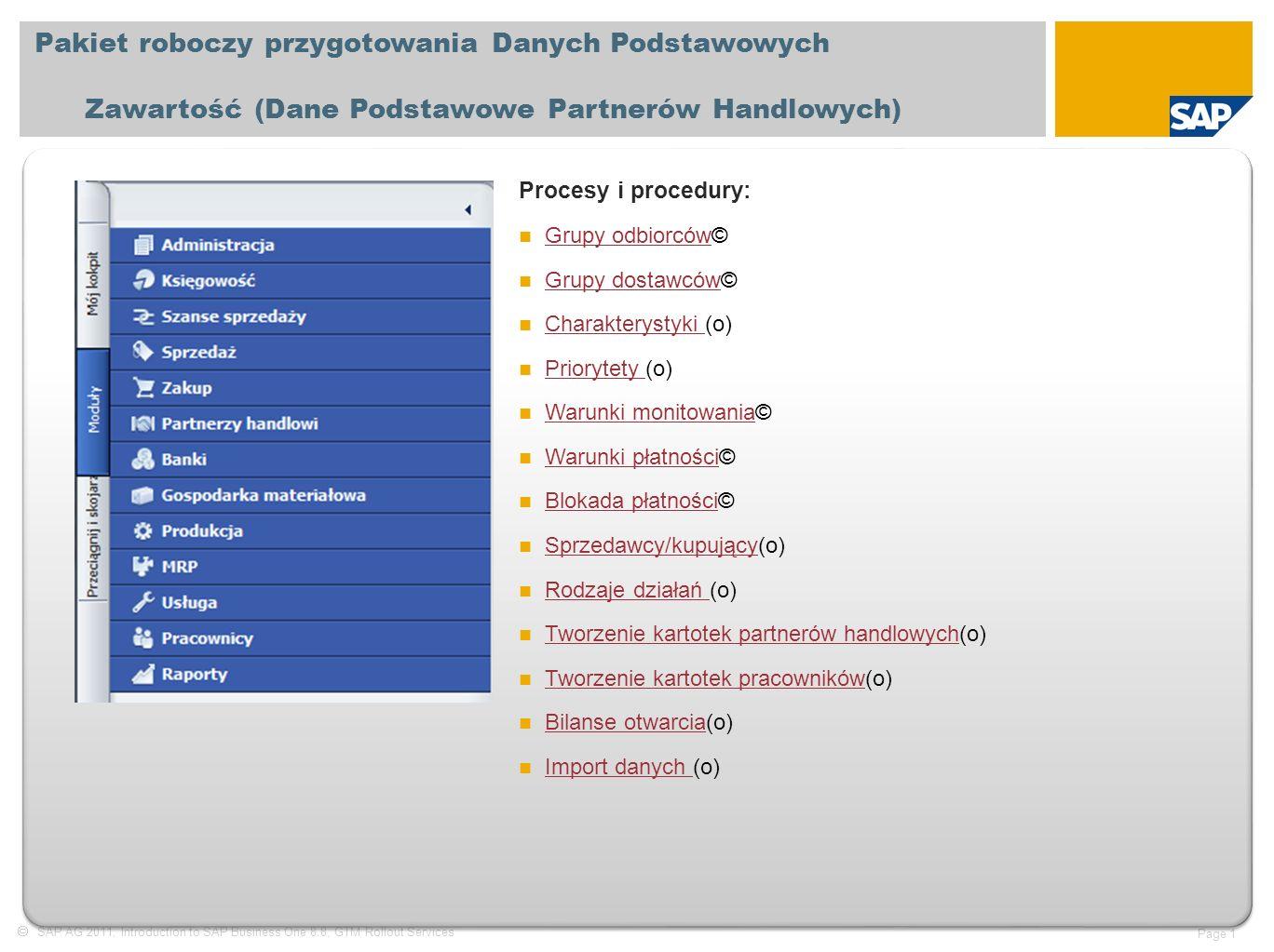  SAP AG 2011, Introduction to SAP Business One 8.8, GTM Rollout Services Page 2 Pakiet roboczy przygotowania Danych Podstawowych Zawartość (Dane podstawowe materiałów) Procesy i procedury : Grupy materiałów © Grupy materiałów Charakterystyki materiałów (o) Charakterystyki materiałów Magazyny © Magazyny Producenci (o) Producenci Rodzaje dostaw (o) Rodzaje dostaw Lokalizacje (o) Lokalizacje Cykle inwentaryzacji © Cykle inwentaryzacji Rodzaje opakowań (o) Rodzaje opakowań Towary zastępcze (o) Towary zastępcze Katalogi (o) Katalogi Grupy ceł © Grupy ceł Tworzenie kartoteki materiału (o) Tworzenie kartoteki materiału Tworzenie drzewa produktu (o) Tworzenie drzewa produktu Numery seryjne (o) Numery seryjne Numery partii (o) Numery partii