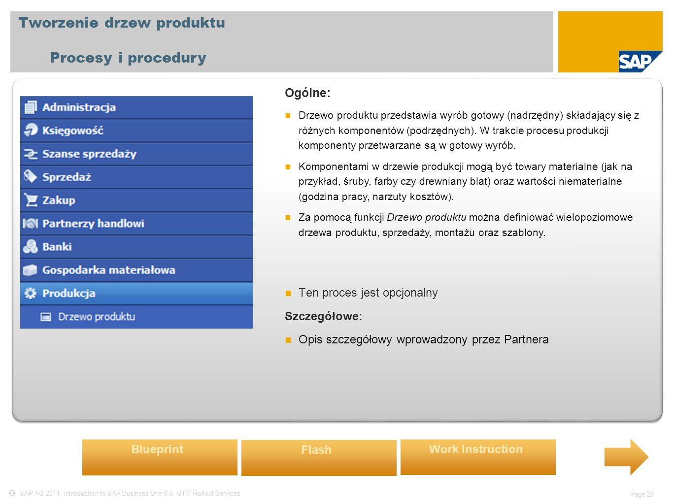  SAP AG 2011, Introduction to SAP Business One 8.8, GTM Rollout Services Page 29 Tworzenie drzew produktu Procesy i procedury Ogólne: Drzewo produktu przedstawia wyrób gotowy (nadrzędny) składający się z różnych komponentów (podrzędnych).