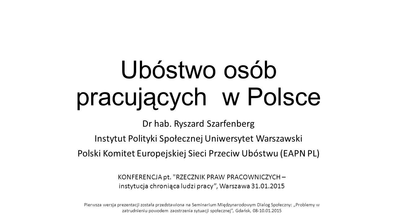 Treść prezentacji Teoria ubóstwa w Polsce a ubóstwo pracujących Ubóstwo gospodarstw domowych według głównego źródła utrzymania Dwa ujęcia ubóstwa pracujących Czynniki powiązane z ubóstwem pracujących Ilustracja statystyczna Instrumenty ograniczania ubóstwa pracujących Ubóstwo pracowników w polskiej polityce publicznej Strategia na bliższą przyszłość