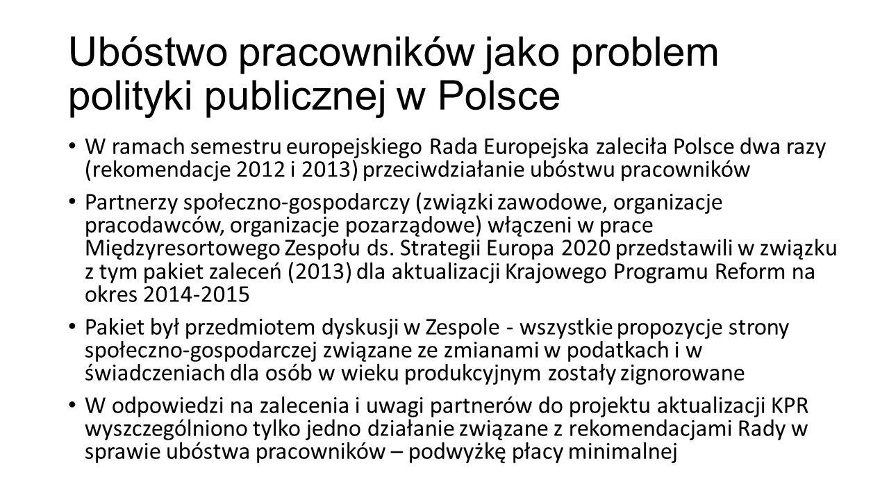 Ubóstwo pracowników jako problem polityki publicznej w Polsce W ramach semestru europejskiego Rada Europejska zaleciła Polsce dwa razy (rekomendacje 2012 i 2013) przeciwdziałanie ubóstwu pracowników Partnerzy społeczno-gospodarczy (związki zawodowe, organizacje pracodawców, organizacje pozarządowe) włączeni w prace Międzyresortowego Zespołu ds.