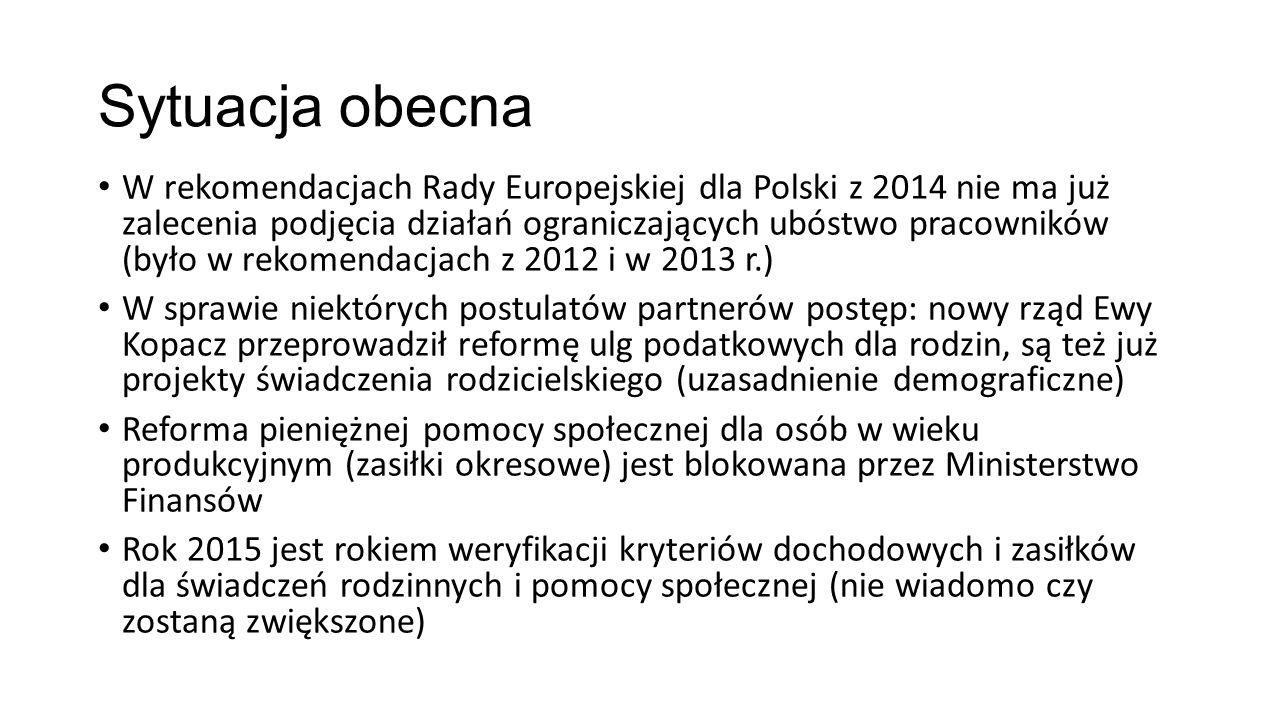 Sytuacja obecna W rekomendacjach Rady Europejskiej dla Polski z 2014 nie ma już zalecenia podjęcia działań ograniczających ubóstwo pracowników (było w rekomendacjach z 2012 i w 2013 r.) W sprawie niektórych postulatów partnerów postęp: nowy rząd Ewy Kopacz przeprowadził reformę ulg podatkowych dla rodzin, są też już projekty świadczenia rodzicielskiego (uzasadnienie demograficzne) Reforma pieniężnej pomocy społecznej dla osób w wieku produkcyjnym (zasiłki okresowe) jest blokowana przez Ministerstwo Finansów Rok 2015 jest rokiem weryfikacji kryteriów dochodowych i zasiłków dla świadczeń rodzinnych i pomocy społecznej (nie wiadomo czy zostaną zwiększone)
