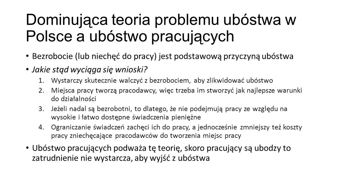 Dominująca teoria problemu ubóstwa w Polsce a ubóstwo pracujących Bezrobocie (lub niechęć do pracy) jest podstawową przyczyną ubóstwa Jakie stąd wyciąga się wnioski.