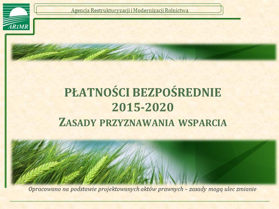 Agencja Restrukturyzacji i Modernizacji Rolnictwa PŁATNOŚCI BEZPOŚREDNIE 2015-2020 Z ASADY PRZYZNAWANIA WSPARCIA Opracowano na podstawie projektowanych aktów prawnych – zasady mogą ulec zmianie