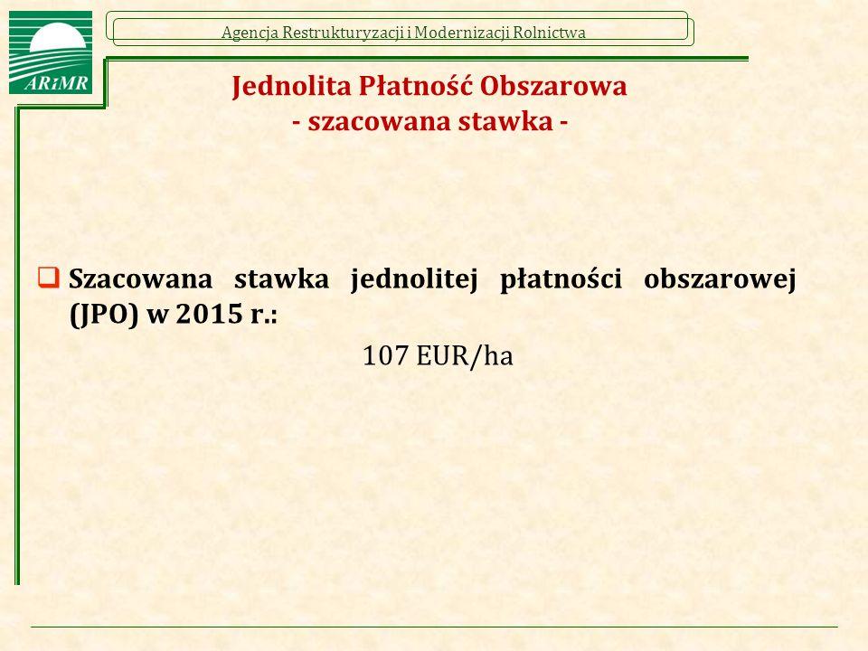 Agencja Restrukturyzacji i Modernizacji Rolnictwa Jednolita Płatność Obszarowa - szacowana stawka -  Szacowana stawka jednolitej płatności obszarowej (JPO) w 2015 r.: 107 EUR/ha