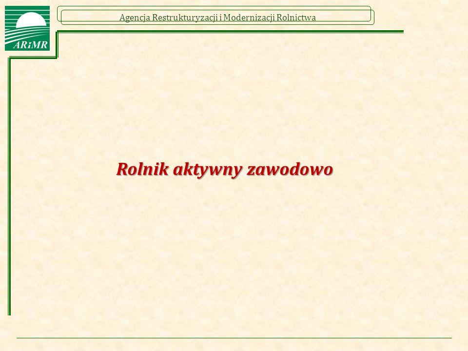 Agencja Restrukturyzacji i Modernizacji Rolnictwa Rolnik aktywny zawodowo