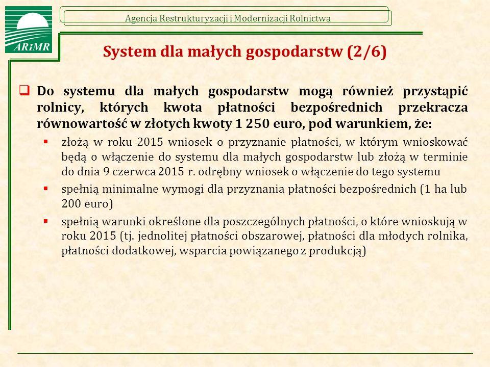Agencja Restrukturyzacji i Modernizacji Rolnictwa System dla małych gospodarstw (2/6)  Do systemu dla małych gospodarstw mogą również przystąpić rolnicy, których kwota płatności bezpośrednich przekracza równowartość w złotych kwoty 1 250 euro, pod warunkiem, że:  złożą w roku 2015 wniosek o przyznanie płatności, w którym wnioskować będą o włączenie do systemu dla małych gospodarstw lub złożą w terminie do dnia 9 czerwca 2015 r.