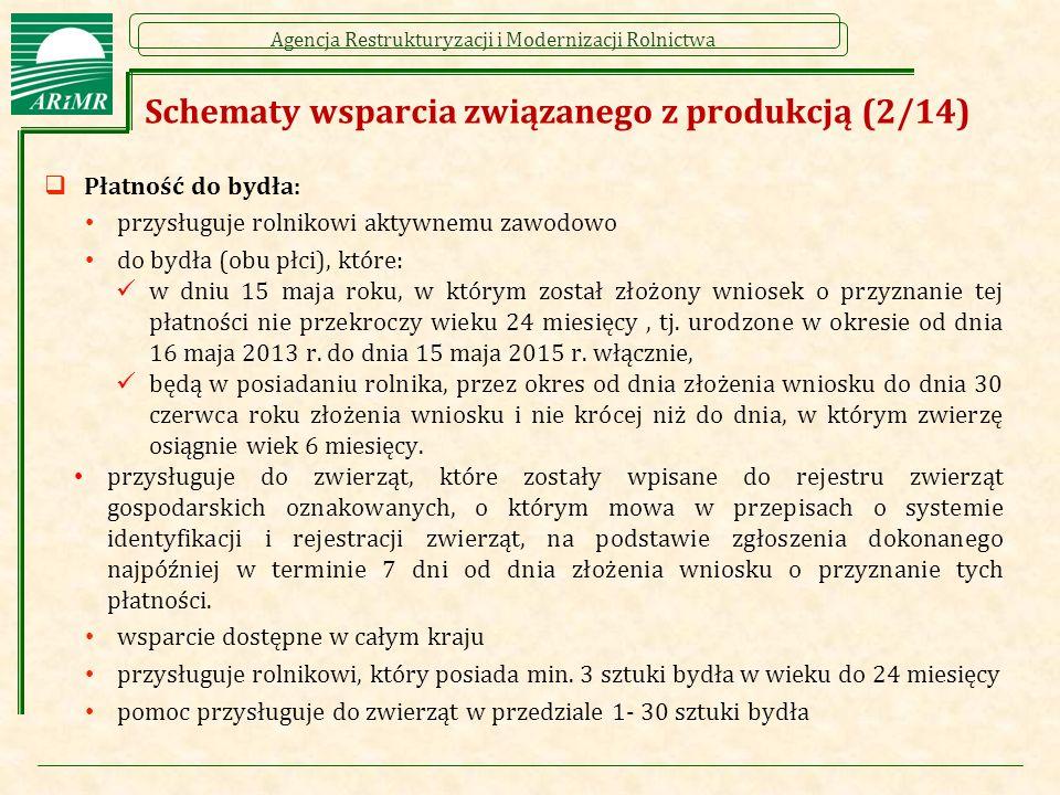 Agencja Restrukturyzacji i Modernizacji Rolnictwa Schematy wsparcia związanego z produkcją (2/14)  Płatność do bydła: przysługuje rolnikowi aktywnemu zawodowo do bydła (obu płci), które: w dniu 15 maja roku, w którym został złożony wniosek o przyznanie tej płatności nie przekroczy wieku 24 miesięcy, tj.