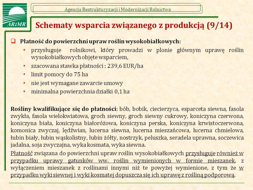 Agencja Restrukturyzacji i Modernizacji Rolnictwa Schematy wsparcia związanego z produkcją (9/14)  Płatność do powierzchni upraw roślin wysokobiałkowych: przysługuje rolnikowi, który prowadzi w plonie głównym uprawę roślin wysokobiałkowych objęte wsparciem, szacowana stawka płatności : 239,6 EUR/ha limit pomocy do 75 ha nie jest wymagane zawarcie umowy minimalna powierzchnia działki 0,1 ha Rośliny kwalifikujące się do płatności: bób, bobik, ciecierzyca, esparceta siewna, fasola zwykła, fasola wielokwiatowa, groch siewny, groch siewny cukrowy, koniczyna czerwona, koniczyna biała, koniczyna białoróżowa, koniczyna perska, koniczyna krwistoczerwona, komonica zwyczaj, lędźwian, lucerna siewna, lucerna mieszańcowa, lucerna chmielowa, łubin biały, łubin wąskolistny, łubin żółty, nostrzyk, peluszka, seradela uprawna, soczewica jadalna, soja zwyczajna, wyka kosmata, wyka siewna.