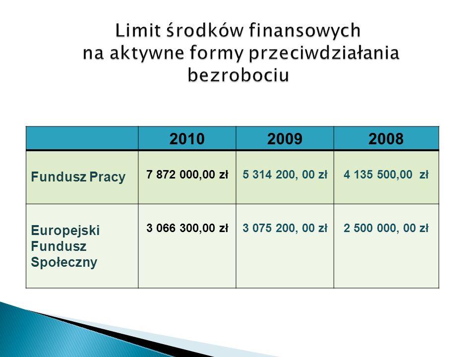 201020092008 Fundusz Pracy 7 872 000,00 zł5 314 200, 00 zł4 135 500,00 zł Europejski Fundusz Społeczny 3 066 300,00 zł3 075 200, 00 zł2 500 000, 00 zł