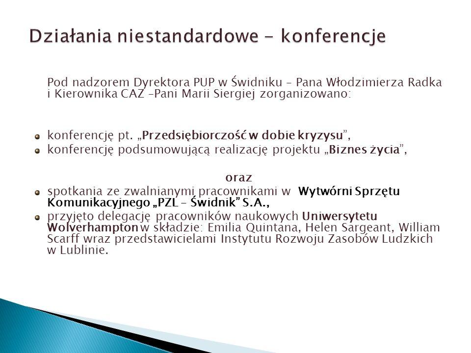 Pod nadzorem Dyrektora PUP w Świdniku – Pana Włodzimierza Radka i Kierownika CAZ –Pani Marii Siergiej zorganizowano: konferencję pt.
