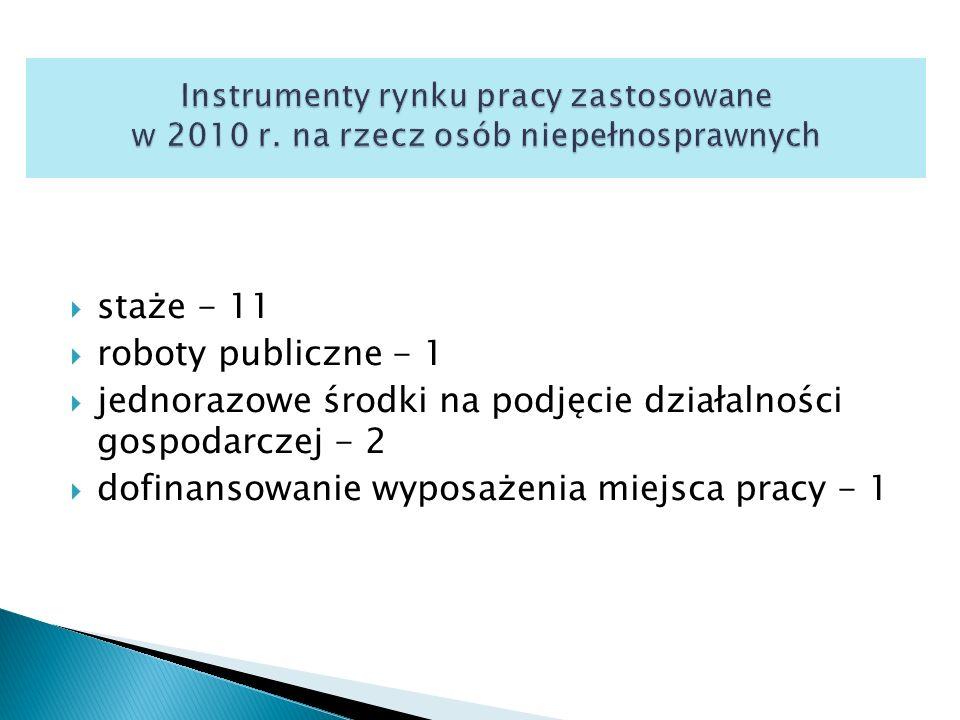  staże - 11  roboty publiczne - 1  jednorazowe środki na podjęcie działalności gospodarczej - 2  dofinansowanie wyposażenia miejsca pracy - 1