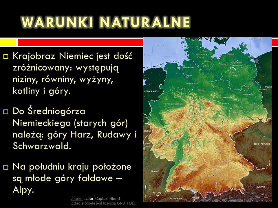  Krajobraz Niemiec jest dość zróżnicowany: występują niziny, równiny, wyżyny, kotliny i góry.