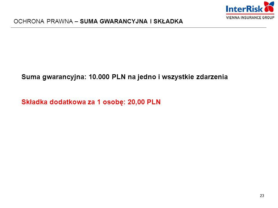 23 OCHRONA PRAWNA – SUMA GWARANCYJNA I SKŁADKA Suma gwarancyjna: 10.000 PLN na jedno i wszystkie zdarzenia Składka dodatkowa za 1 osobę: 20,00 PLN