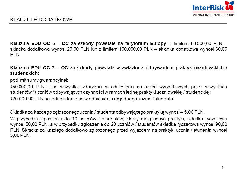44 KLAUZULE DODATKOWE Klauzula EDU OC 6 – OC za szkody powstałe na terytorium Europy: z limitem 50.000,00 PLN – składka dodatkowa wynosi 20,00 PLN lub z limitem 100.000,00 PLN – składka dodatkowa wynosi 30,00 PLN Klauzula EDU OC 7 – OC za szkody powstałe w związku z odbywaniem praktyk uczniowskich / studenckich: podlimit sumy gwarancyjnej:  50.000,00 PLN – na wszystkie zdarzenia w odniesieniu do szkód wyrządzonych przez wszystkich studentów / uczniów odbywających czynności w ramach jednej praktyki uczniowskiej / studenckiej;  20.000,00 PLN na jedno zdarzenie w odniesieniu do jednego ucznia / studenta.