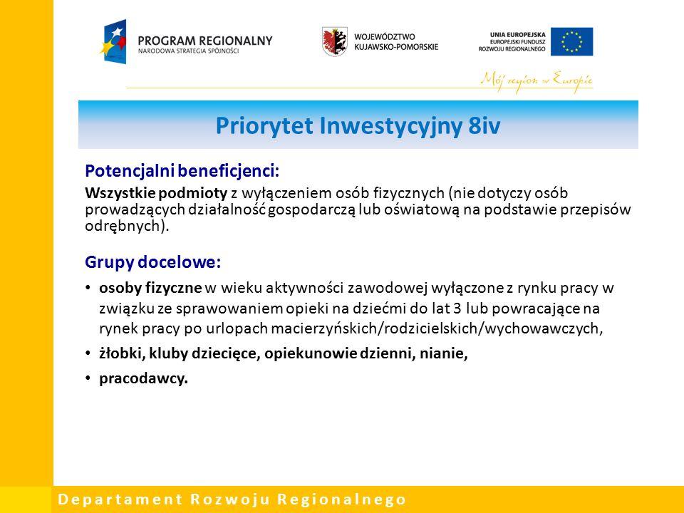 Departament Rozwoju Regionalnego Priorytet Inwestycyjny 8iv Potencjalni beneficjenci: Wszystkie podmioty z wyłączeniem osób fizycznych (nie dotyczy osób prowadzących działalność gospodarczą lub oświatową na podstawie przepisów odrębnych).