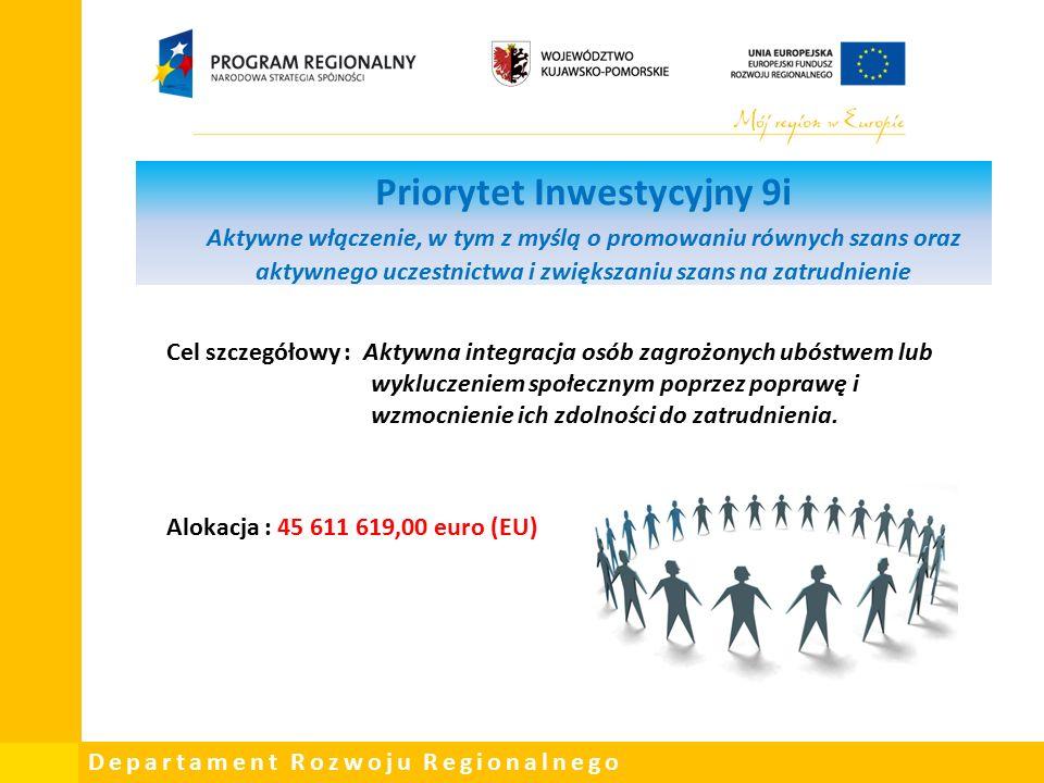Departament Rozwoju Regionalnego Priorytet Inwestycyjny 9i Aktywne włączenie, w tym z myślą o promowaniu równych szans oraz aktywnego uczestnictwa i zwiększaniu szans na zatrudnienie Cel szczegółowy : Aktywna integracja osób zagrożonych ubóstwem lub wykluczeniem społecznym poprzez poprawę i wzmocnienie ich zdolności do zatrudnienia.