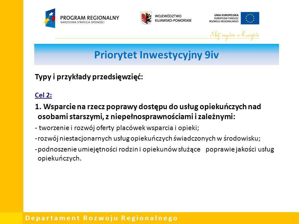 Departament Rozwoju Regionalnego Priorytet Inwestycyjny 9iv Typy i przykłady przedsięwzięć: Cel 2: 1.