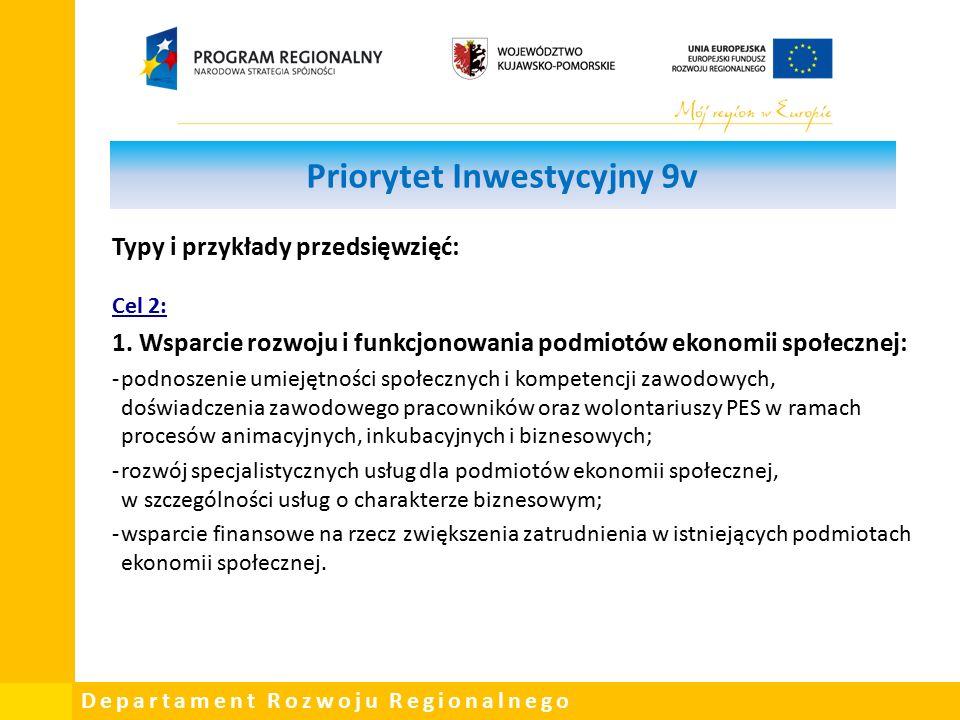 Departament Rozwoju Regionalnego Priorytet Inwestycyjny 9v Typy i przykłady przedsięwzięć: Cel 2: 1.