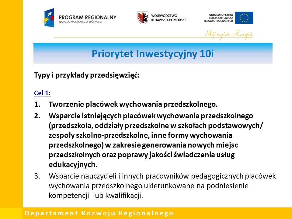 Departament Rozwoju Regionalnego Priorytet Inwestycyjny 10i Typy i przykłady przedsięwzięć: Cel 1: 1.Tworzenie placówek wychowania przedszkolnego.