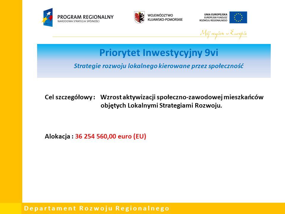 Departament Rozwoju Regionalnego Priorytet Inwestycyjny 9vi Strategie rozwoju lokalnego kierowane przez społeczność Cel szczegółowy : Wzrost aktywizacji społeczno-zawodowej mieszkańców objętych Lokalnymi Strategiami Rozwoju.