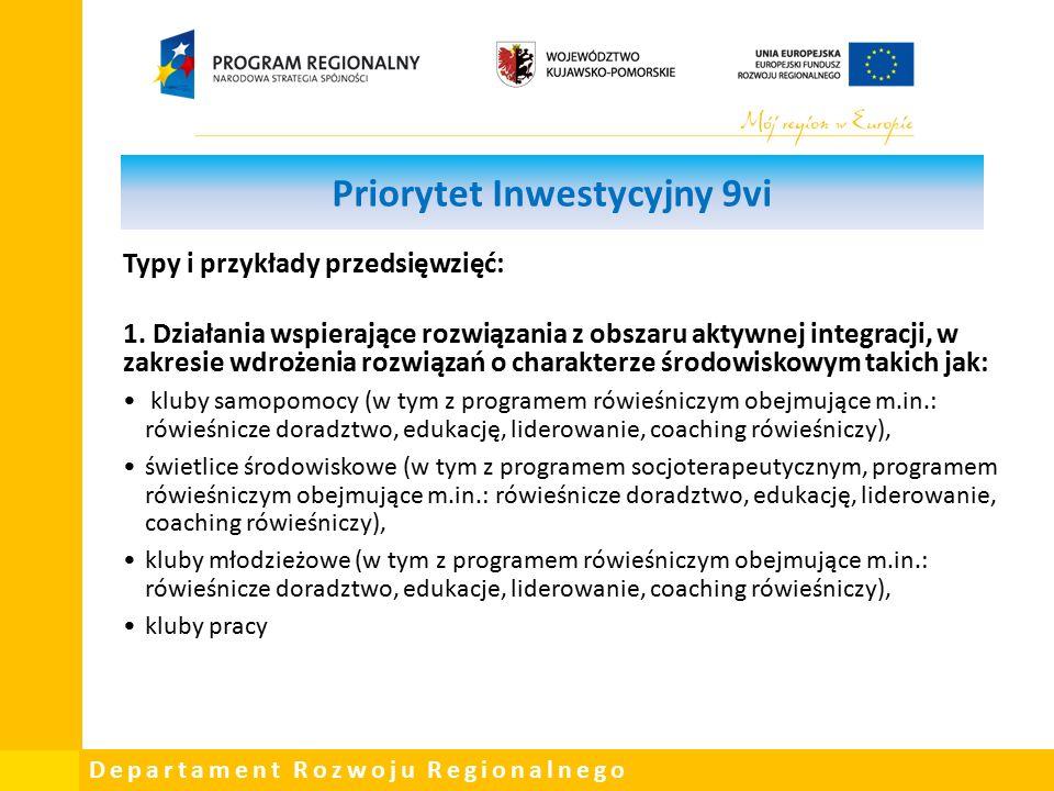 Departament Rozwoju Regionalnego Priorytet Inwestycyjny 9vi Typy i przykłady przedsięwzięć: 1.