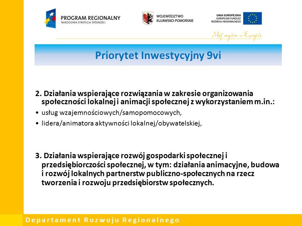 Departament Rozwoju Regionalnego Priorytet Inwestycyjny 9vi 2.