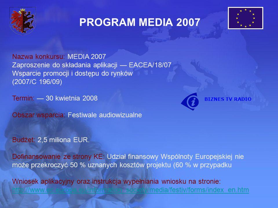 Nazwa konkursu: MEDIA 2007 Zaproszenie do składania aplikacji — EACEA/18/07 Wsparcie promocji i dostępu do rynków (2007/C 196/09) Termin: — 30 kwietnia 2008 Obszar wsparcia: Festiwale audiowizualne Budżet: 2,5 miliona EUR.