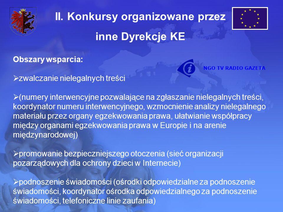 Obszary wsparcia:  zwalczanie nielegalnych treści  (numery interwencyjne pozwalające na zgłaszanie nielegalnych treści, koordynator numeru interwencyjnego, wzmocnienie analizy nielegalnego materiału przez organy egzekwowania prawa, ułatwianie współpracy między organami egzekwowania prawa w Europie i na arenie międzynarodowej)  promowanie bezpieczniejszego otoczenia (sieć organizacji pozarządowych dla ochrony dzieci w Internecie)  podnoszenie świadomości (ośrodki odpowiedzialne za podnoszenie świadomości, koordynator ośrodka odpowiedzialnego za podnoszenie świadomości, telefoniczne linie zaufania) II.