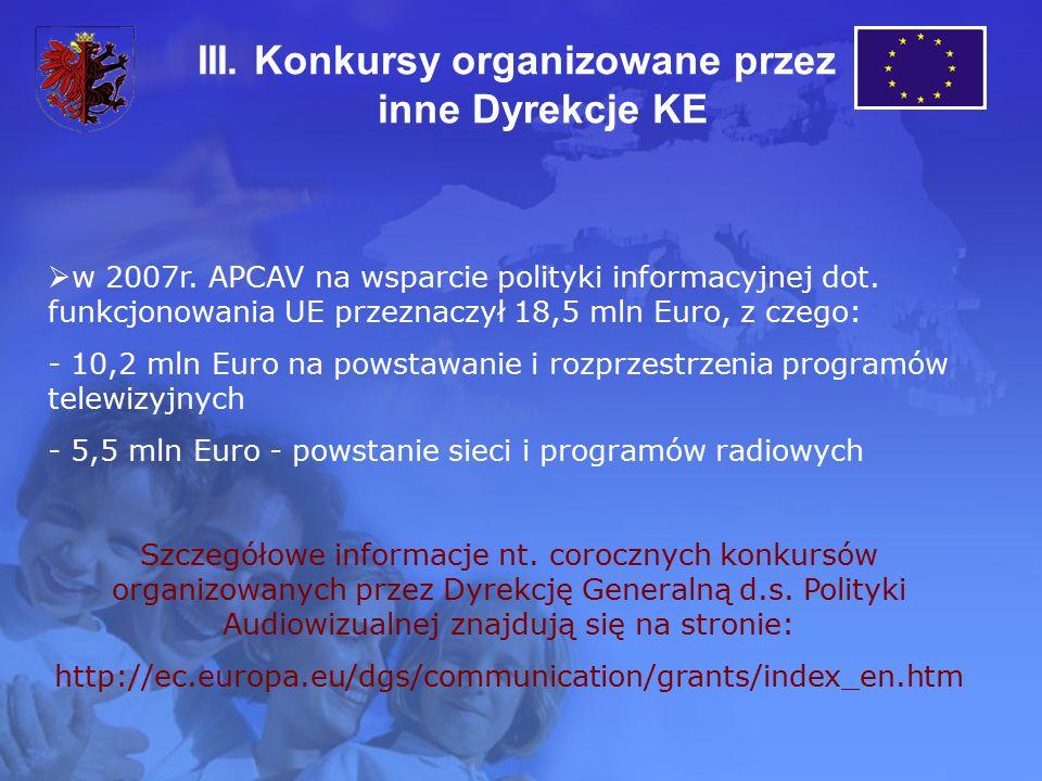 III. Konkursy organizowane przez inne Dyrekcje KE  w 2007r. APCAV na wsparcie polityki informacyjnej dot. funkcjonowania UE przeznaczył 18,5 mln Euro