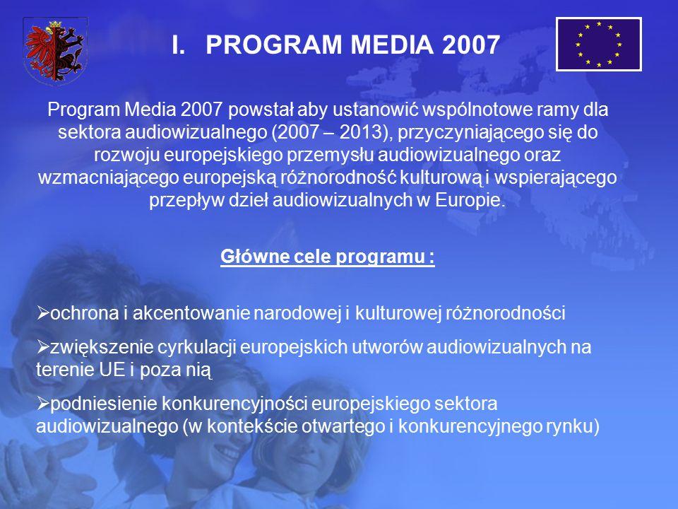 I.PROGRAM MEDIA 2007 Program Media 2007 powstał aby ustanowić wspólnotowe ramy dla sektora audiowizualnego (2007 – 2013), przyczyniającego się do rozwoju europejskiego przemysłu audiowizualnego oraz wzmacniającego europejską różnorodność kulturową i wspierającego przepływ dzieł audiowizualnych w Europie.