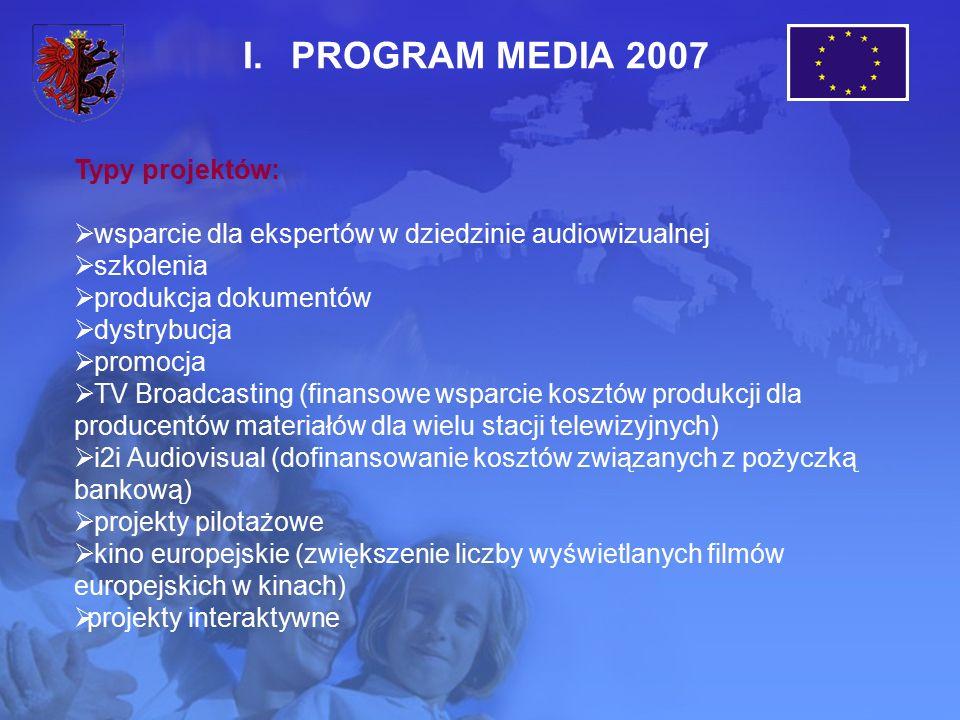 I.PROGRAM MEDIA 2007 Typy projektów:  wsparcie dla ekspertów w dziedzinie audiowizualnej  szkolenia  produkcja dokumentów  dystrybucja  promocja  TV Broadcasting (finansowe wsparcie kosztów produkcji dla producentów materiałów dla wielu stacji telewizyjnych)  i2i Audiovisual (dofinansowanie kosztów związanych z pożyczką bankową)  projekty pilotażowe  kino europejskie (zwiększenie liczby wyświetlanych filmów europejskich w kinach)  projekty interaktywne