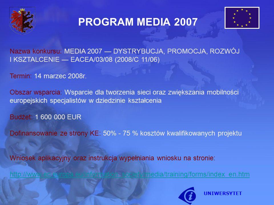 Nazwa konkursu: MEDIA 2007 — DYSTRYBUCJA, PROMOCJA, ROZWÓJ I KSZTALCENIE — EACEA/03/08 (2008/C 11/06) Termin: 14 marzec 2008r. Obszar wsparcia: Wsparc