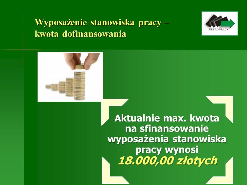 Wyposażenie stanowiska pracy – kwota dofinansowania Aktualnie max. kwota na sfinansowanie wyposażenia stanowiska pracy wynosi 18.000,00 złotych
