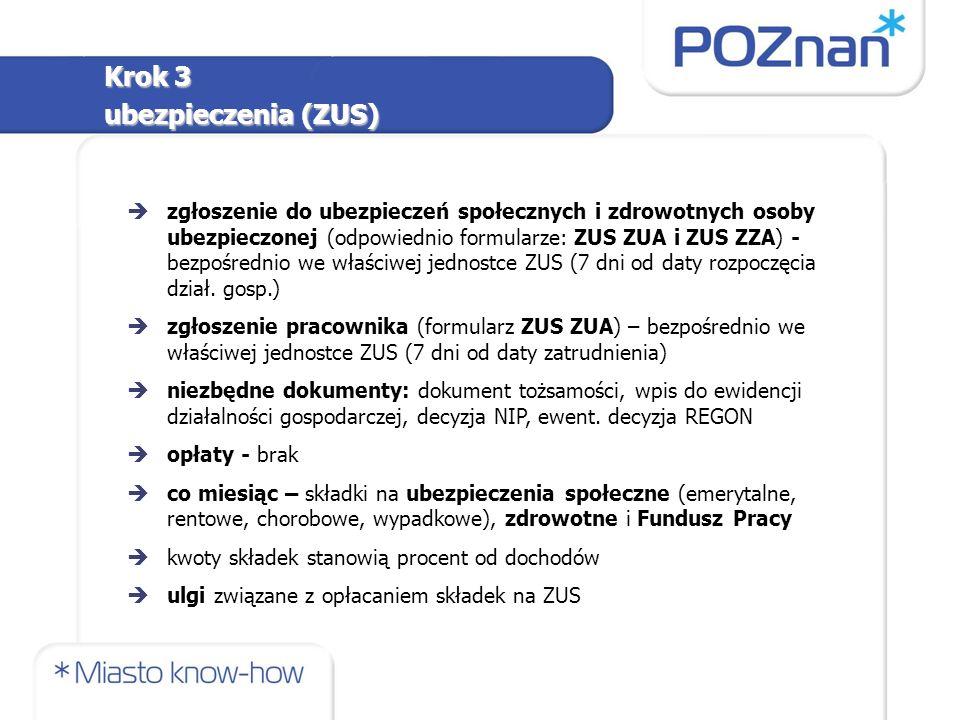 èzgłoszenie do ubezpieczeń społecznych i zdrowotnych osoby ubezpieczonej (odpowiednio formularze: ZUS ZUA i ZUS ZZA) - bezpośrednio we właściwej jednostce ZUS (7 dni od daty rozpoczęcia dział.