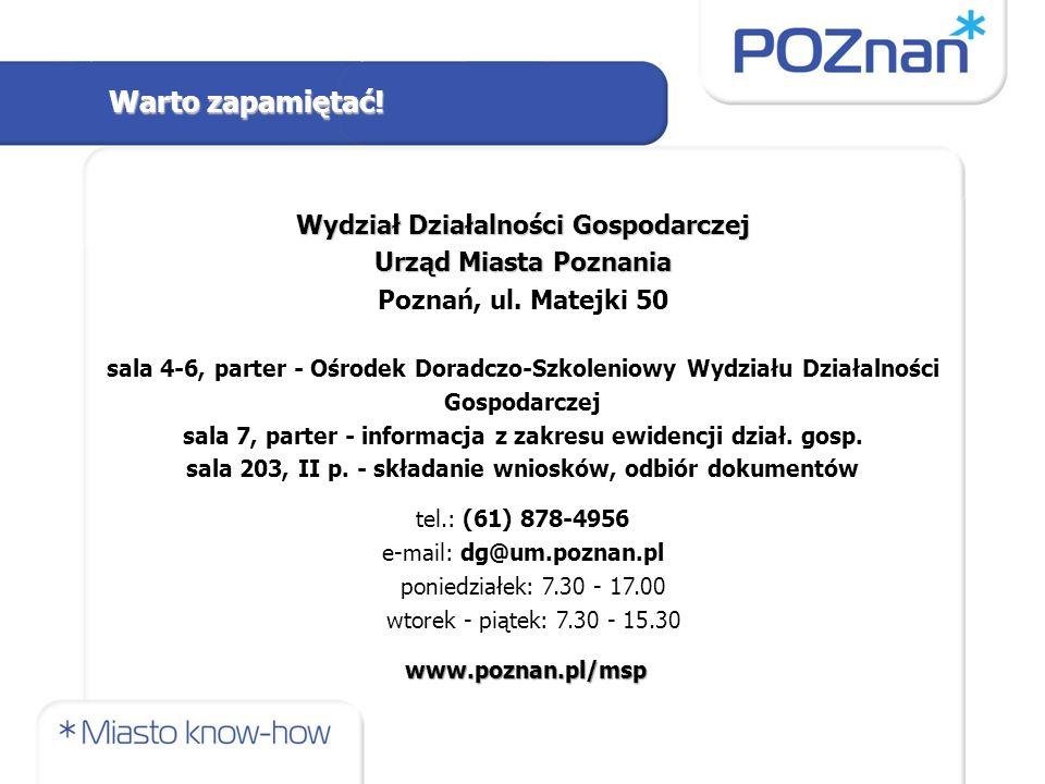 Wydział Działalności Gospodarczej Urząd Miasta Poznania Poznań, ul.