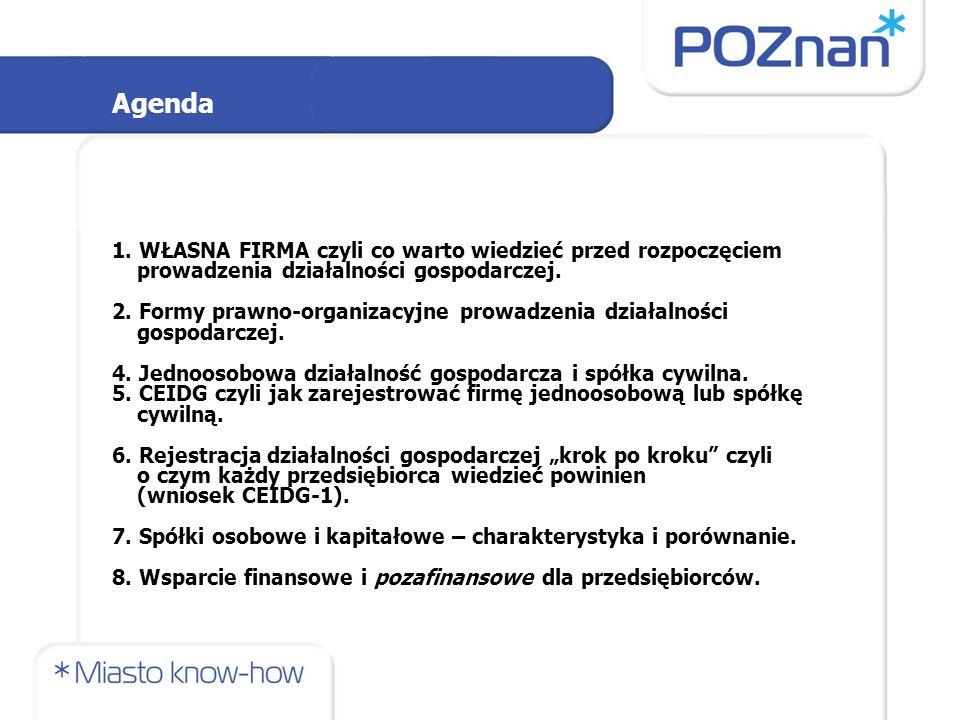 Agenda 1. WŁASNA FIRMA czyli co warto wiedzieć przed rozpoczęciem prowadzenia działalności gospodarczej. 2. Formy prawno-organizacyjne prowadzenia dzi