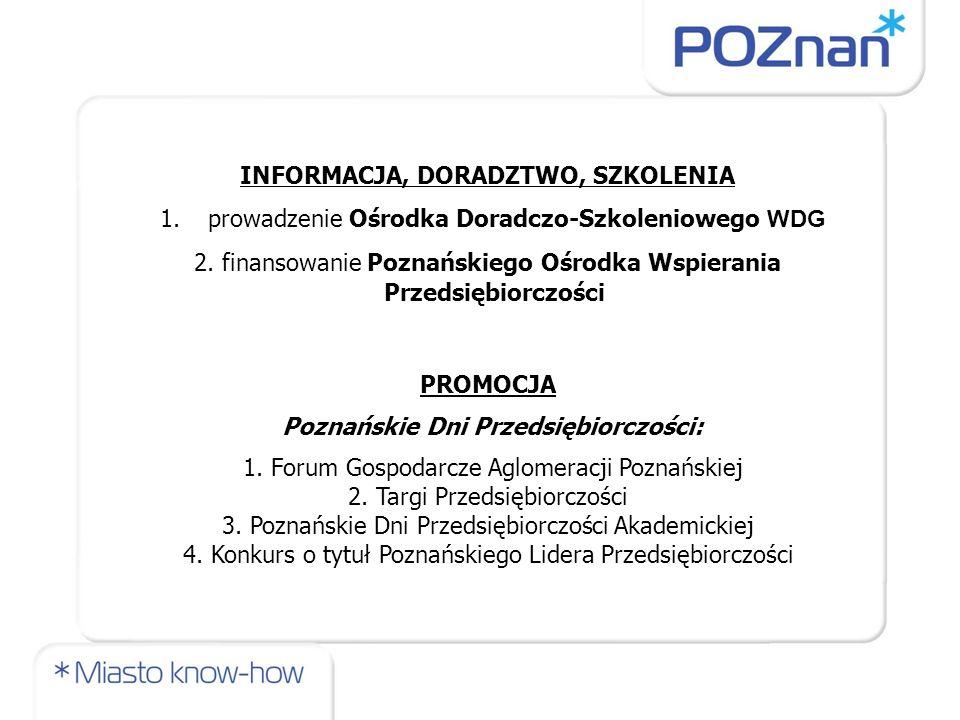 INFORMACJA, DORADZTWO, SZKOLENIA 1.prowadzenie Ośrodka Doradczo-Szkoleniowego WDG 2. finansowanie Poznańskiego Ośrodka Wspierania Przedsiębiorczości P