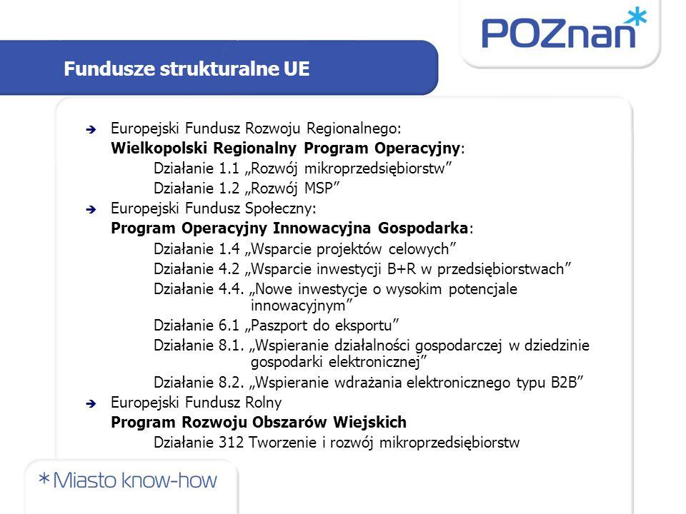 """Fundusze strukturalne UE  Europejski Fundusz Rozwoju Regionalnego: Wielkopolski Regionalny Program Operacyjny: Działanie 1.1 """"Rozwój mikroprzedsiębiorstw Działanie 1.2 """"Rozwój MSP  Europejski Fundusz Społeczny: Program Operacyjny Innowacyjna Gospodarka: Działanie 1.4 """"Wsparcie projektów celowych Działanie 4.2 """"Wsparcie inwestycji B+R w przedsiębiorstwach Działanie 4.4."""