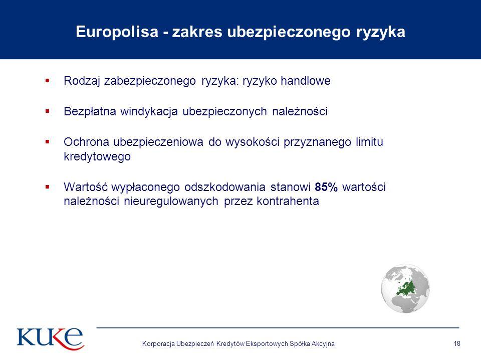 Europolisa - zakres ubezpieczonego ryzyka  Rodzaj zabezpieczonego ryzyka: ryzyko handlowe  Bezpłatna windykacja ubezpieczonych należności  Ochrona ubezpieczeniowa do wysokości przyznanego limitu kredytowego  Wartość wypłaconego odszkodowania stanowi 85% wartości należności nieuregulowanych przez kontrahenta Korporacja Ubezpieczeń Kredytów Eksportowych Spółka Akcyjna18